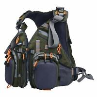 Amarine-made Multi-pocket Fly Fishing Vest Backpack Chest Mesh Bag Adjustable