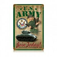 US ARMY Pinup Join Today Metal Sign hand made in the USA 12 x 18 inch metal