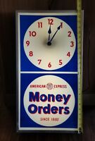 Vintge American Express Money Order Sign with Clock