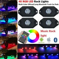 4 Underbody Neon Pods RGB LED Rock Lights for Off Road Trucks Jeep Ford ATV UTV