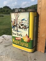Vtg Maple Syrup Can New York Old Time 1/2 Gallon Tin