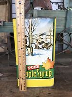 Vtg Maple Syrup Can  Old Time Gallon Tin Sugar Shak Green & Yellow Country