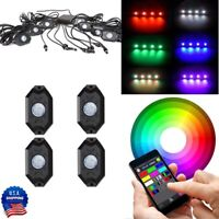 4 Pod RGB LED Rock Lights Offroad Music Flashing Wireless Bluetooth Control ATV
