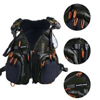 Fly Fishing Backpack Adjustable Size Mesh Fishing Vest Pack Army Green US SHIP