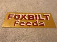 Vintage Foxbilt Feed Tin Advertising Sign NOS Farm Pig Chicken Cow Feed Sign