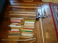 Lot Vintage 72 Antique Yard Sticks Rulers slides hinged Chevy Dairy mostly PA