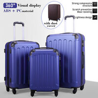 3 Piece Luggage Set Travel Trolley Suitcase ABS+PC Nested Spinner w Cover Blue