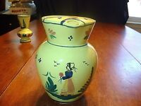 Vintage HB Quimper Hand Painted Soleil Yellow 6 Cup Ice Lip Pitcher EX