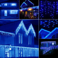 US 96-1000 LED String Lights Fairy Icicle Curtain Xmas ice Blue Connectable Lamp