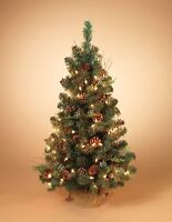 2' Pre-lit Mixed Pine and Cedar Christmas Tree White Lights Berries Pinecones