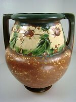 Roseville Art Pottery Vintage DAHLROSE Arts and Crafts Vase Variegated Tan 367-8