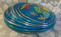 Emaux de Longwy Atlantis Enamel Pottery Shell Vase Dish Bowl With Lid VERY RARE