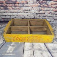 Coca Cola Wooden Crate Soda Case 4 Slots Holder Carrier Yellow Vintage 1969 (#2)