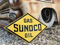 Antique Vintage Old Style Sunoco Gas Oil Sign