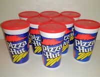 8 VINTAGE 1980s PIZZA HUT PEPSI PLASTIC CUPS WITH MATCHING RED LIDS