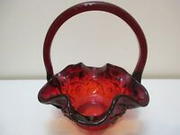Vintage Fenton Art Glass Basket Basket Water Lily Red Amberina 7 3/8