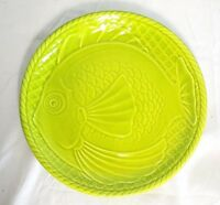 Gien France French Majolica Green Fish Plate