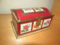 Vintage Linette Reading Pa. Tin Metal Candy Box Chest Flowers Western Germany