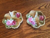 Pair of Small Nippon Hand Painted Trinket Pieces