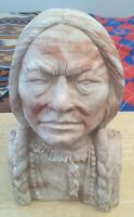 Comanche Pottery Texas Sitting Bull Bust Lakota Tribal Chief Carved Statue 34lbs