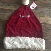 Pottery Barn Chair Backer Christmas Santa Hat Monogrammed quot;Ryan Jrquot; NWT