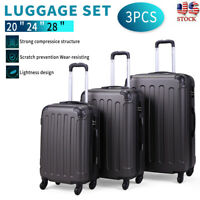 3 Piece Luggage Set Travel Trolley Suitcase ABS+PC Nested Spinner w Cover Gray