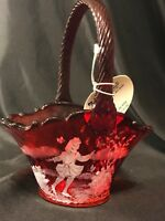 Fenton Glass Ruby Red Basket Mary Gregory Style HP Signed D Frederick