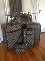 Vintage Etienne Aigner BlackGray Canvas Monogram 5 Piece Luggage Set