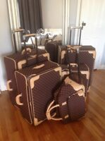 Ralph Lauren BrownTan Monogram 5 Piece Luggage Set