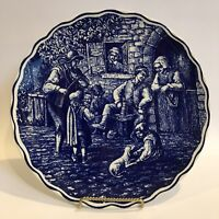 "Boch Freres Delft Blue Hand Painted Wall Charger Plate White #1 11.25"" Vintage"