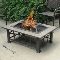 Fire Pit Table Pits Outdoor Wood Burning Tile Top Backyard Patio Heater Outside