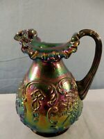 Fenton Amethyst Carnival Glass Pitcher - Wild Rose & Bowknow Bow Knot Design