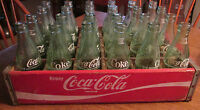 Coca Cola Wooden Red Case with 24 green Coke Bottles