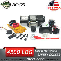 AC-DK 4500 lb ATV&UTV electric Winch 12V Come with Steel Rope and Hook stopper!