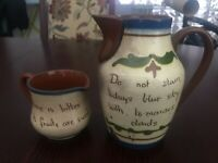 TORQUAY POTTERY MOTTO WARE Watcombe DEVON Creamer Pitcher and Pitcher