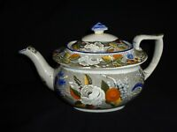 Very Rare! Marked Antique 19th.c Salopian Soft Paste China Floral Teapot (j1)