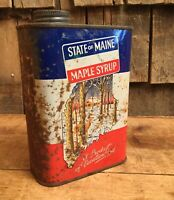 Vintage MAINE MAPLE SYRUP 1 QT Tin Can Vacationland Country Store Display Sign