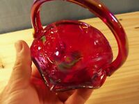 Fenton Dorothy Taylor Encore Embossed Kittens Cat Red Carnival Glass Basket #2