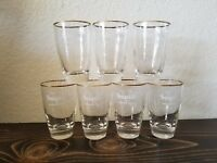 Vintage Seagrams VO Canadian Whiskey Gold Rim Bar Drinking Glasses Glass Lot 7