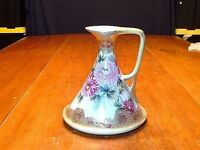 Antique Hand Painted Nippon Porcelain Handled Pitcher With Gold Bead Work
