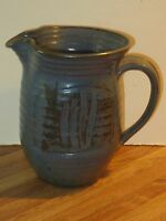 Peter Leach Large Studio Pottery Pitcher With Incised Finger Swipe Designs
