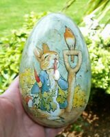 Vintage Peter Rabbit Beatrix Potter Easter Egg Container Charpente ~ Tin Litho ?
