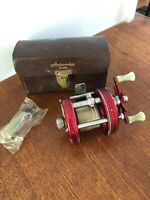 Vtg RARE ABU GARCIA AMBASSADEUR 5000 Red Fishing Reel In Box