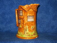 England Cottage Ware Pottery Pitcher Majolica Style Antique Numbered