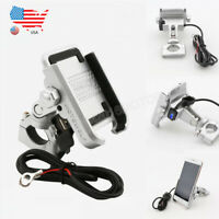 US Stock 360° Cell Phone Holder Aluminum Mount Stand USB Charger for Motorcycle