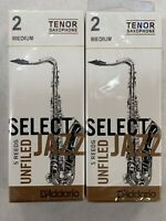 2 Rico Select Jazz Tenor Saxophone Reeds, Unfiled, Strength 2 Medium, 5-pack X 2