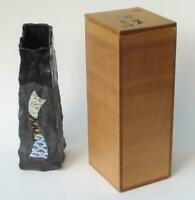 Vintage Japanese Pottery Flower Vase with Wooden Box