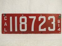 Antique 1914 California License Plate Porcelain (red, white) Ing-Rich Mfg Co
