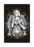 , Marilyn Monroe sexy angel wing tattoo metal tin sign art decor