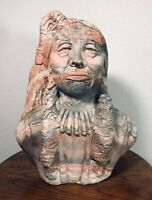 Comanche Pottery Texas Tribal Chief Carved Bust Statue 34lbs